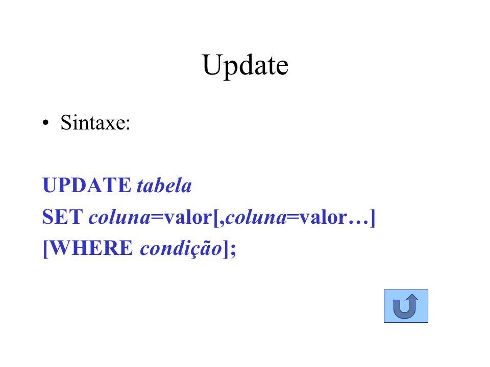 Update Sintaxe: UPDATE tabela SET coluna=valor[,coluna=valor…]